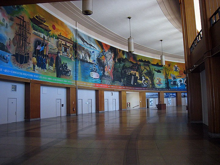 World's Fair Admin. Bldg.- with huge mural of naval battles, and one lonely security guard